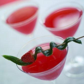 Dragon cocktail with strawberry