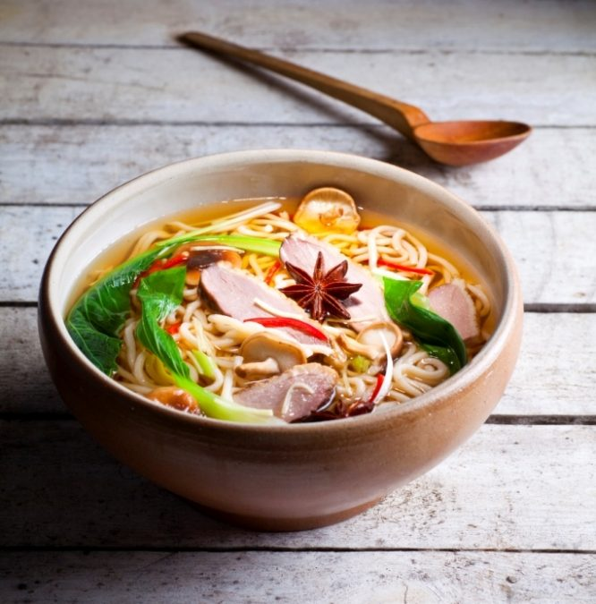 Smoked duck noodle soup