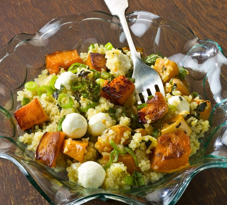 Goat's cheese and butternut squash herb salad